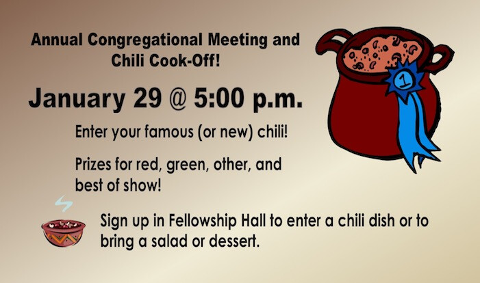 Chili Cook-Off and Congregational Meeting - Jan 29 2017 5:00 PM