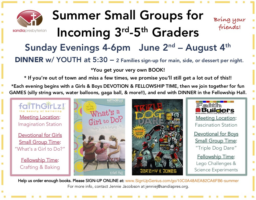 Summer Small Groups for Incoming 3rd-5th Grade Boys and Girls